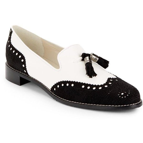 Stuart Weitzman Black, White Guything Two-tone Brogue Tassel Loafers... ($10) ❤ liked on Polyvore featuring shoes, loafers, black loafer flats, black tassel loafers, stuart weitzman shoes, flat pumps and black white shoes