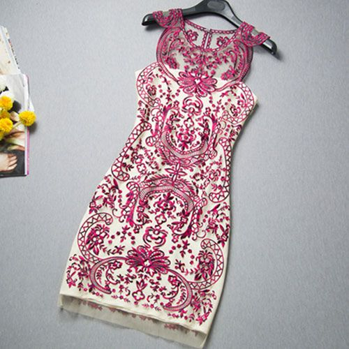 Celebrity Contrast Color Flowers Embroidery Sheer Tunic Tank Dress [grxjy561002]