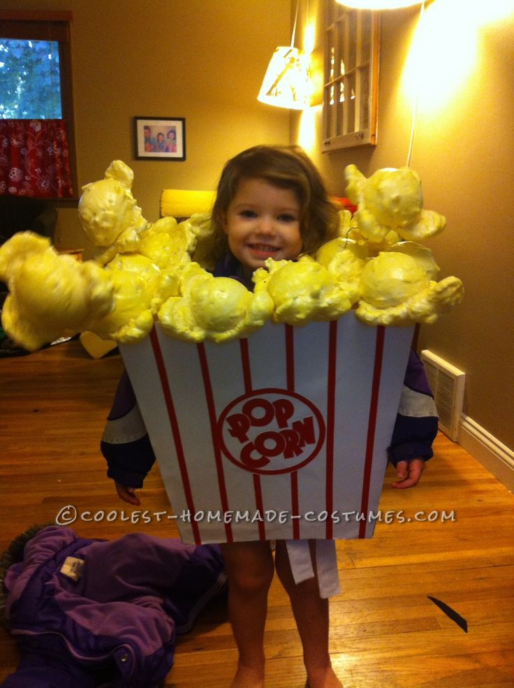 Cutest Little Popcorn Girl Costume for Halloween... Coolest Homemade Costumes