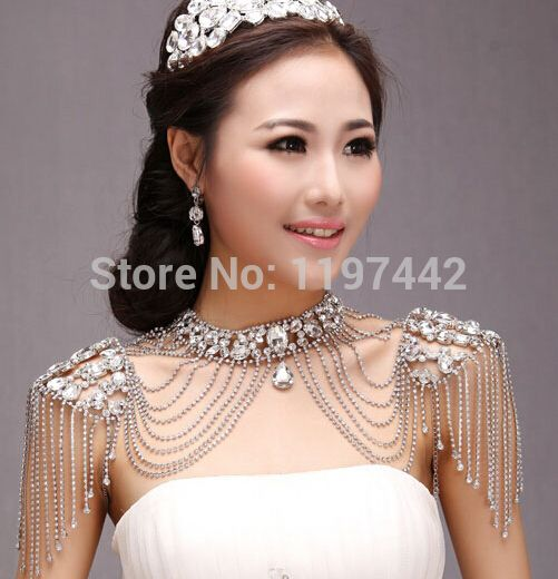 New Bride Wedding Dress Accessories crystal Bridal Body Chain big necklace with earrings Shoulder Strap Vintage Accessories