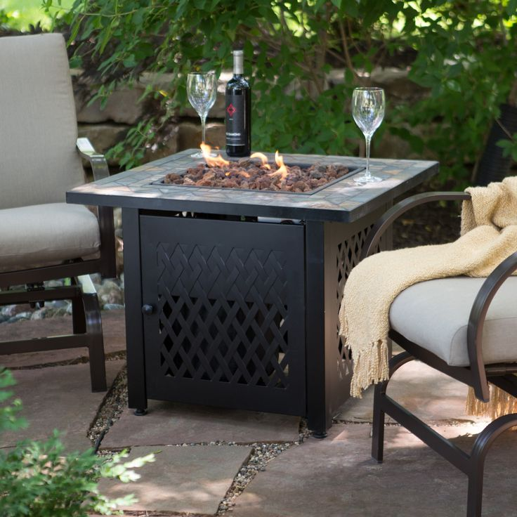 UniFlame Slate Mosaic Propane Fire Pit Table with FREE Cover | from hayneedle.com