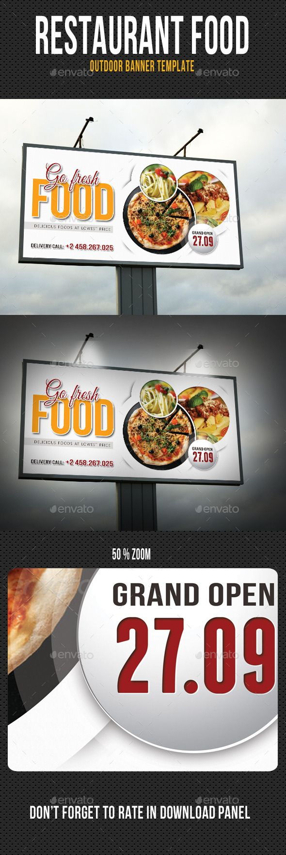 Restaurant Food Outdoor Banner Template #design Download: http://graphicriver.net/item/restaurant-food-outdoor-banner-template/13001661?ref=ksioks