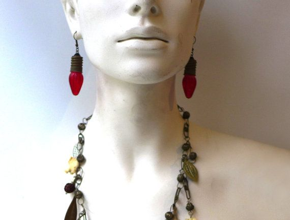Vintage original 1960s red lightbulb dangle earrings by evaelena