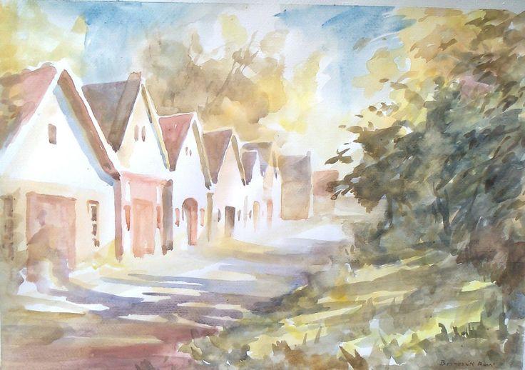 Aquarell of Hungrian village houses.