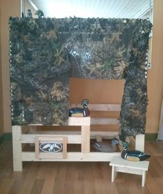 duck blind baby bed | Bed - decorated as a duck blind. Sold unfinished. Camo and duck ...