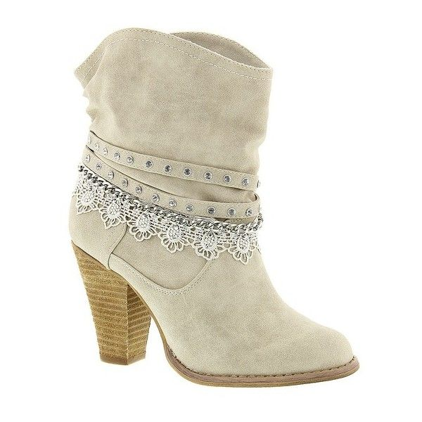 Not Rated Lobsteria ($75) ❤ liked on Polyvore featuring shoes, boots, ankle booties, cream, studded shoes, cream shoes, not rated shoes and cushioned shoes