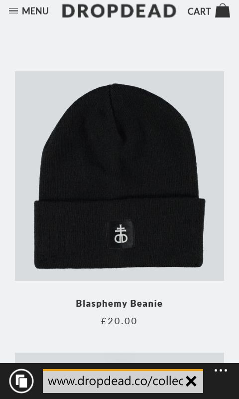 blasphemy beanie #dropdead