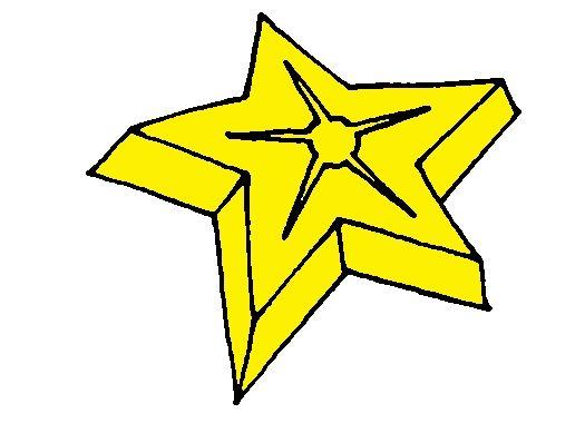 Geel stervormpje van kleurenspel