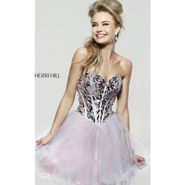 Pink Sherri Hill 11131 Short Corset Homecoming Dress ($249) via Polyvore featuring dresses, sherri hill dresses, short dresses, pink corset dress, pink homecoming dresses and sherri hill