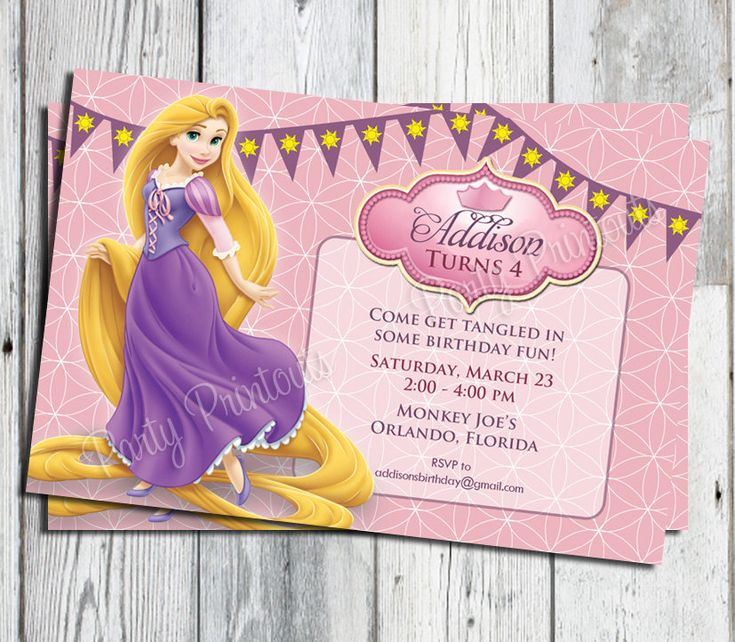Rapunzel Tangled Invitation, Printable, for Tangled Themed Birthday Party, More Tangled Invitations available. $13.00, via Etsy.