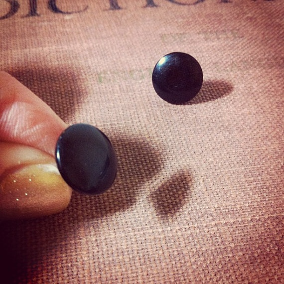 Jet Black Studs - Vintage Button Earrings by thelibraryfaerie, $3.99