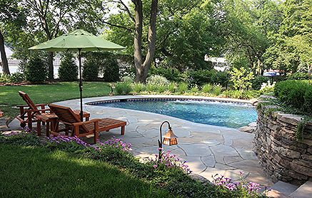 pool side seating surrounded