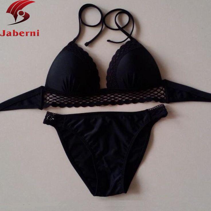 Crochet Bikini Set Scrunch Halter Ladies Bikinis Black Top Bottoms Swimwear Women Lace Bathing Suit Beach Brand Female Swimsuit