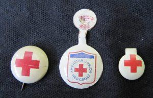 Small Red Cross American Junior Metal Tab Pins - American Red Cross lapel pins; once a year in elem. school we could bring an extra dime with our milk money and receive a pin for our donation. You would proudly wear it for days- also so the teacher would remember you already donated and not bug you anymore.