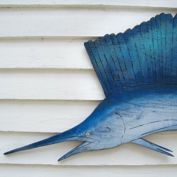 Sail Fish Wall Art Oversized Beach Coastal Ocean Sign