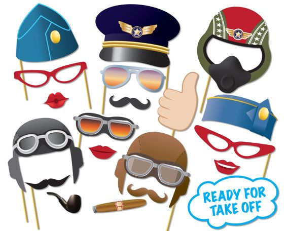 Airplane Pilot Photo booth Props Party Set  Top gun Party