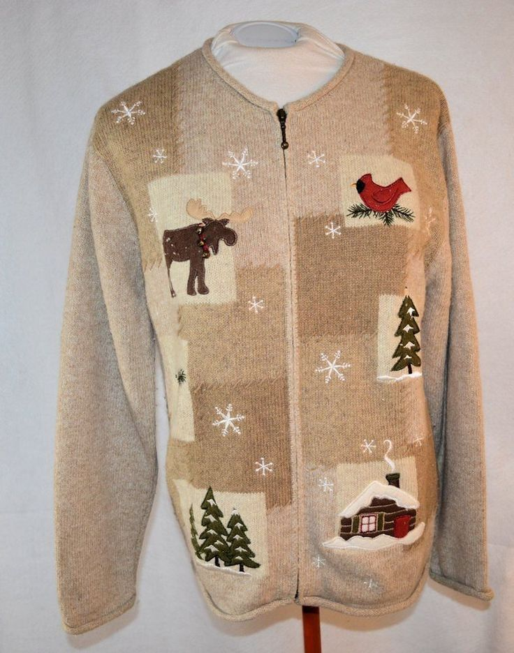MEDIUM beige zip up cardigan sweater with cardinal moose trees in Clothing, Shoes & Accessories, Women's Clothing, Sweaters | eBay