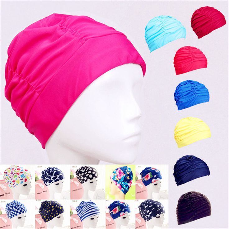 Swimming Cap Water Turban Pleated Swimming Cap Large XL Women's Hot Spring Hair Swimming Cap Male and Female Universal