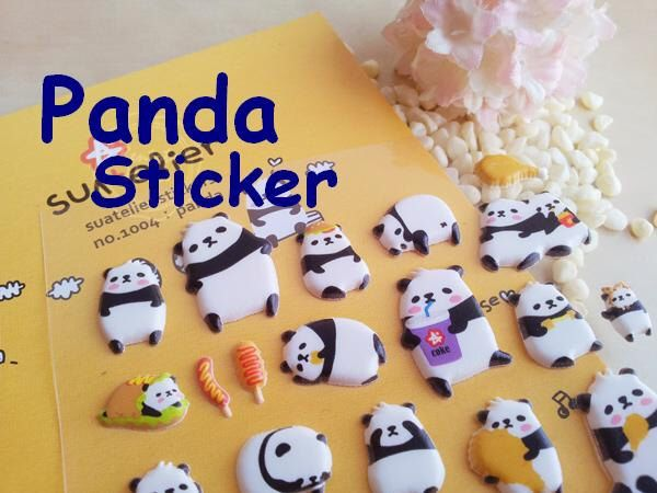 panda puffy sticker cute animal kawaii pet label wildlife National treasure doll fat animal deco special gift card little kids party gift by StickersKingdom on Etsy https://www.etsy.com/listing/181724663/panda-puffy-sticker-cute-animal-kawaii