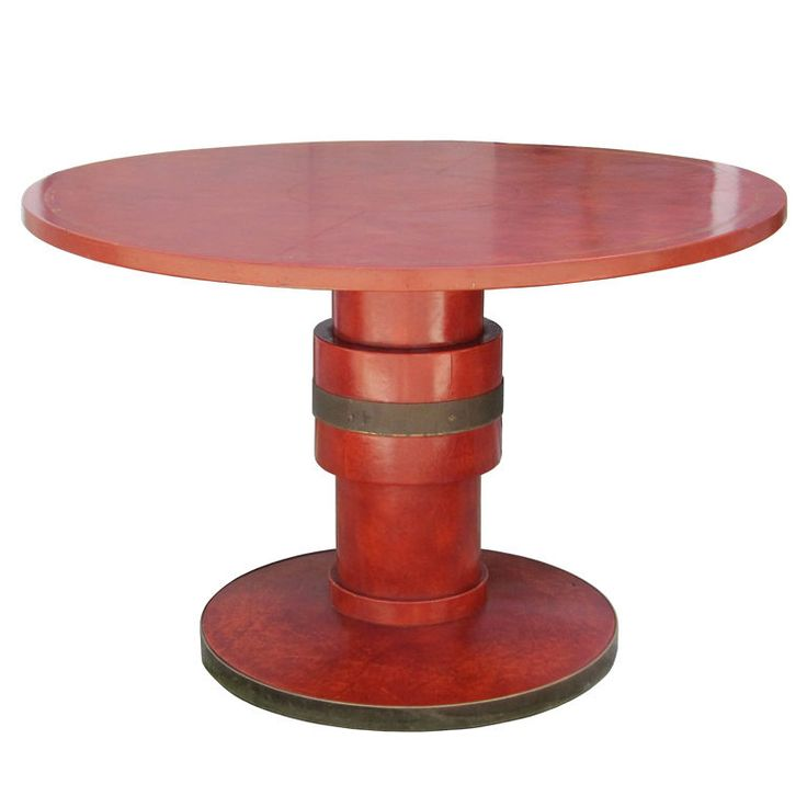 One Of A Kind Leather Wrapped U0026 Brass Game Table