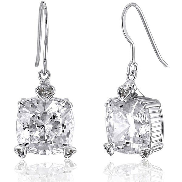 BERRICLE Silver 9.87 Carat Cushion CZ Solitaire Fish Hook Dangle Drop... (£47) ❤ liked on Polyvore featuring jewelry, earrings, clear, dangle earrings, women's accessories, drop dangle earrings, silver earrings, cz drop earrings, long drop earrings and cz dangle earrings