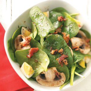 Super Spinach Salad for Two Recipe -Thanks to this recipe, an elegant salad is a cinch to make. Good-for-you spinach is the perfect backdrop for salty bacon bits and tangy balsamic vinaigrette. Mary Harris - Shively, Kentucky