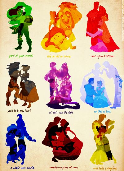 Disney Princess and their princes(: yes please(: