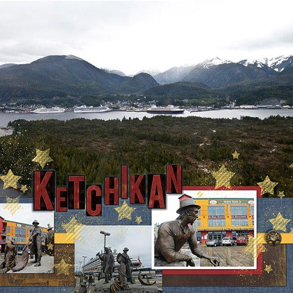 Disney Cruise Alaska Adventure #16: Ports-of-call - Ketchikan Scrapbook Page Layout Using Stamping