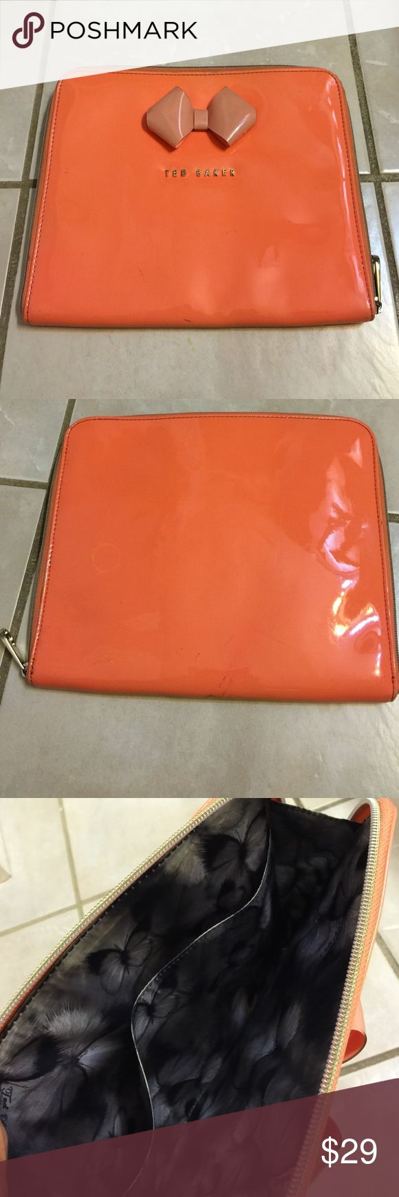 Ted Baker Designer iPad Case **TED BAKER** Orange color IPad Case wth inner compartment. Great  condition with only pen marks/lines outside as shown in photo #4. No dustbag. No Trades. Ted Baker Accessories Tablet Cases