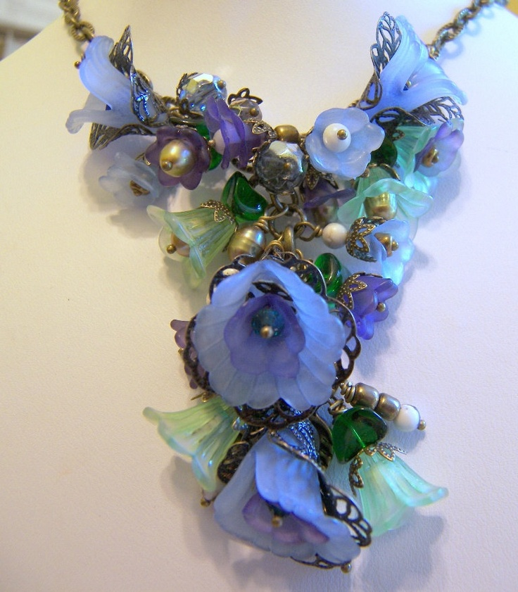 Diane Rose Victorian Floral Necklace Made to Order. $165.00, via Etsy.