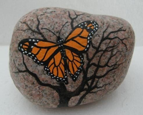 Hand Painted Rock Art Paintings Butterfly Martha Winenger | eBay