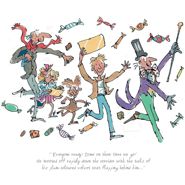 A limited edition print featuring Roald Dahl's Willy Wonka, Charlie, Grandpa Joe, Veruca Salt and one of the Oompa Loompas, illustrated by Quentin Blake. Available from the official Roald Dahl website at http://roalddahl.com/shop/artworks/charlie-wonka-co-print