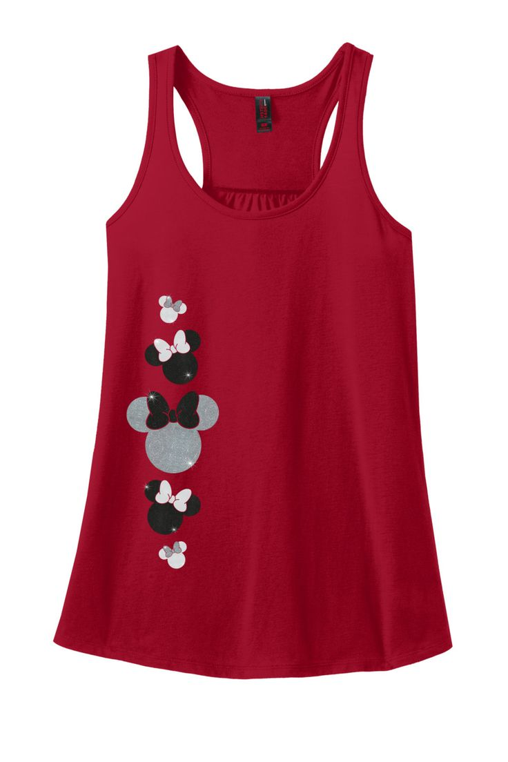 Glitter Minnie Mouse Adult Racerback Tank Top, Disney Minnie Mouse Shirt, Disney…