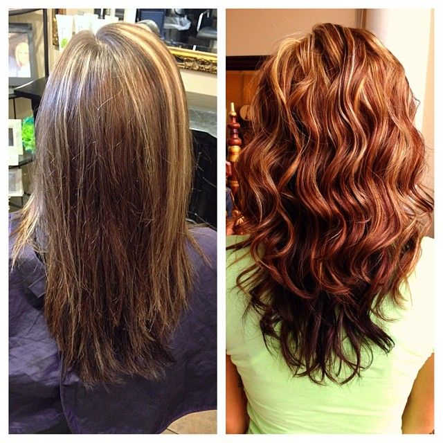 before/after auburn hair with highlights