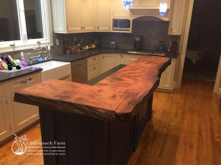 Live edge wood slab natural wood countertop bar ideas for Countertop coffee bar ideas