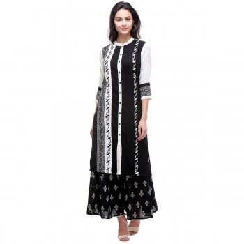 Rayon Black & White Stitched Kurti With Palazzo - S165104P1