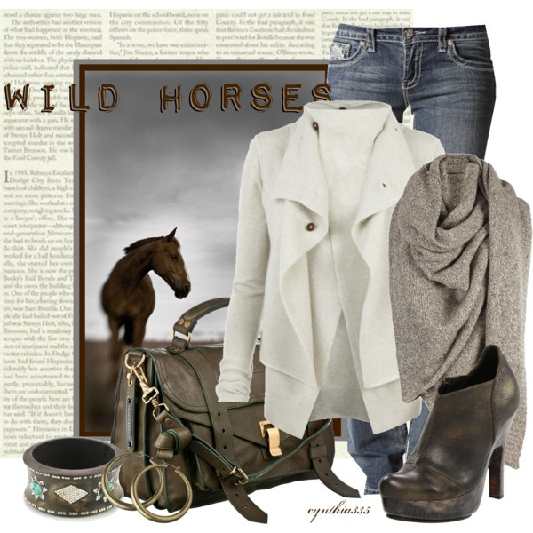 Perfect for a cool fall dayWhite Sweaters, Fashion Clothing, Cynthia335, Fashion Lookbook, Fall Looks, Horse Love, Beautiful Outfit, Fall Winte Fashion, Wild Horses
