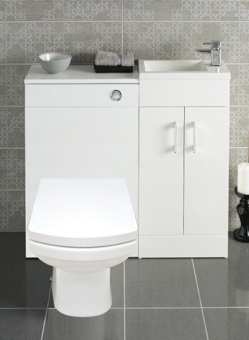 The Awesome Web White Bathroom Vanity Combination Unit Cloakroom Suite Square Back To Wall Toilet Pan