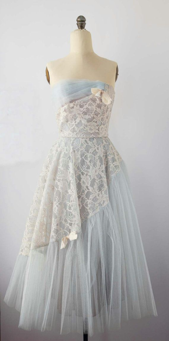 1950's Prom dress. Pale blue tulle with ivory lace. Classic strapless design.