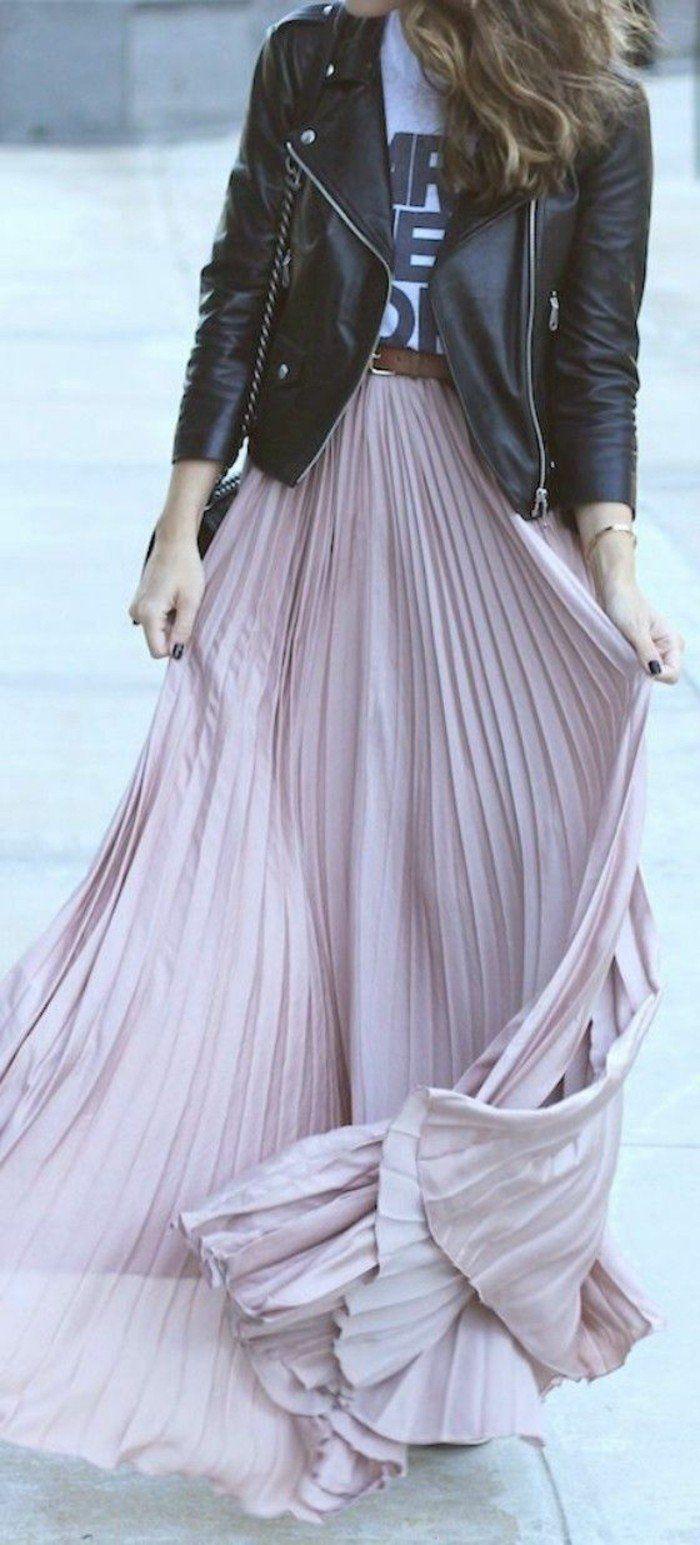 jupes longues femme veste en cuir noir tendances de la mode