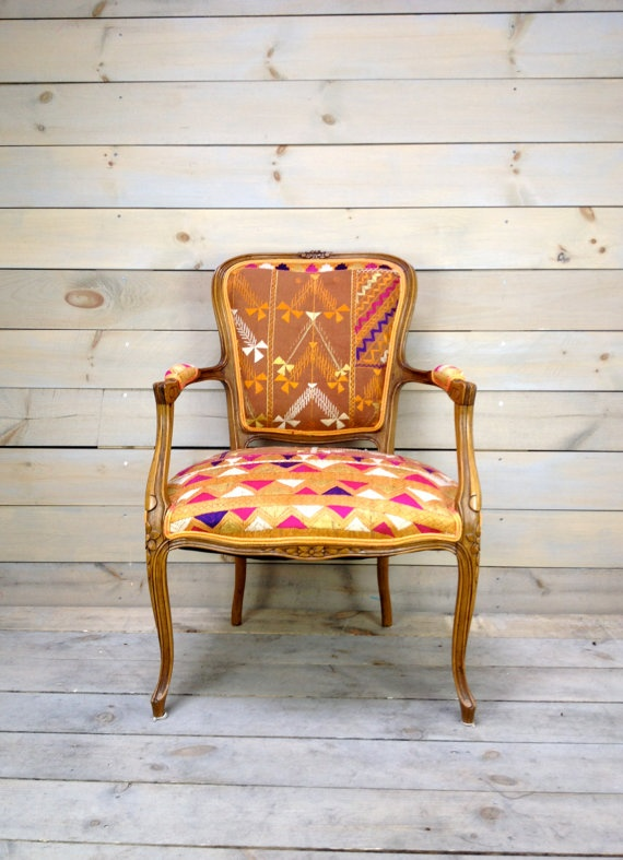 "Antique French Armchair Upholstered in Antique Indian Phulkari by chezboheme on etsy. Charming antique French armchairs are recovered in a 100-yr-old Punjabi wedding procession textile, called ""Phulkari"""