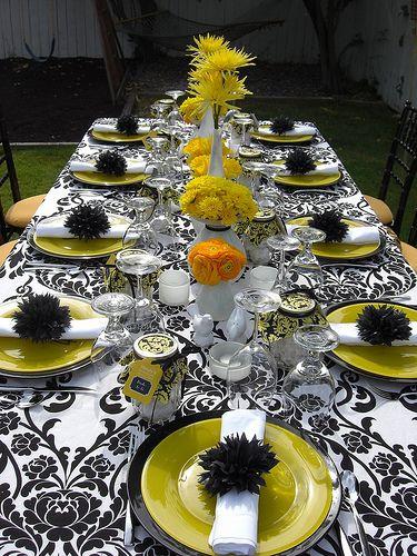 black and yellow damask