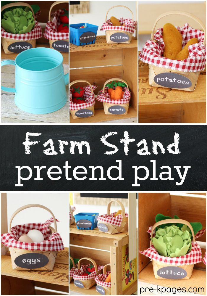 Farm Stand Pretend Play for learning and fun in Preschool. DIY farm stand that's easy to make and doesn't take up a lot of space at home or in the classroom.