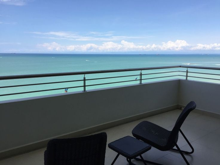 New Oceanfront Condo With 180 Degree Unobstructed View. Located in the beach town of Salinas, Ecuador on the Malecon (Boardwalk) in the Edificio Aquamira, t...