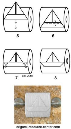 """Learn to make a toilet paper origami boat where the boat is still attached to the toilet paper roll. """"What?"""" you might say, but seriously, this is a cute design which you won't"""