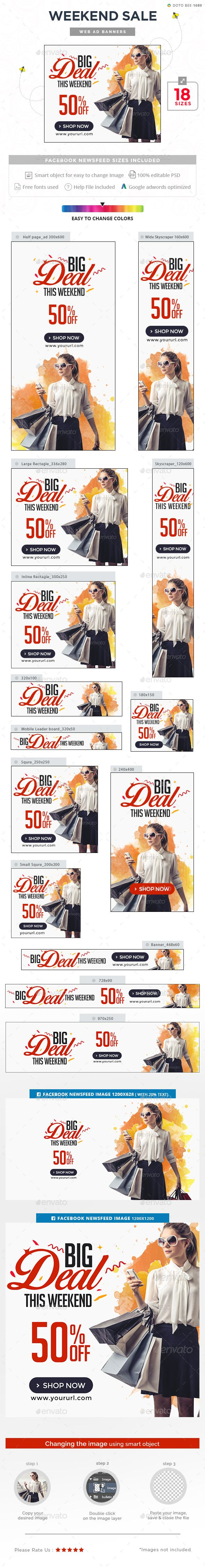 Weekend Sale Banners Template PSD