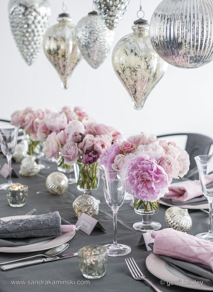Pretty pink and grey for Christmas... Taken from the pages of Christmas At Home by stylist Sandra Kaminski