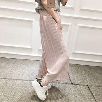2016 Nova Primavera Coreano cintura alta plissadas soltas das mulheres casuais calças nove pontos era magro chiffon larga calças perna calças 6781