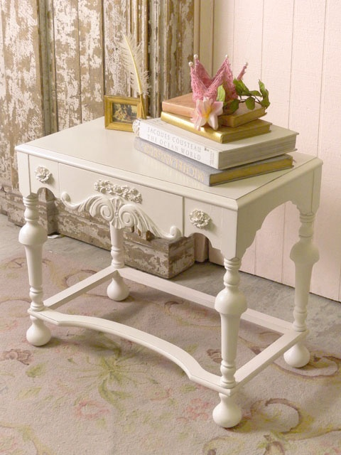 French Scroll White Side Table with Drawer