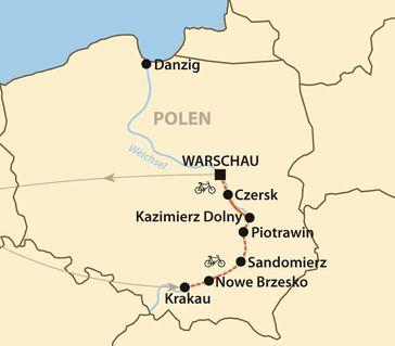 Karte: Radtour entlang der Weichsel - von Krakau bis Warschau